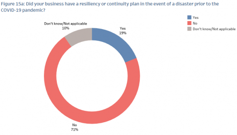 A chart showing survey results for resiliency or continuity plans.